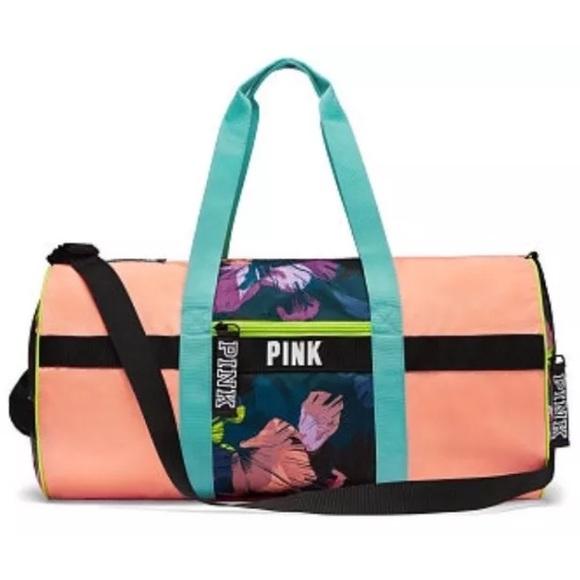 fbc86c41cc Victoria s Secret PINK duffle weekender palm neon